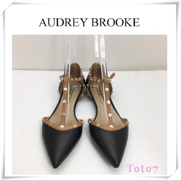 28d69c02dca6 Audrey Brooke Shoes   Nikki Studded Straps Flats Black   Poshmark